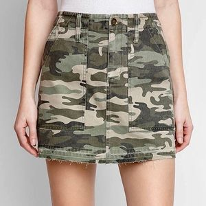 Sanctuary Denim Safari Camo Raw Hem Mini Skirt